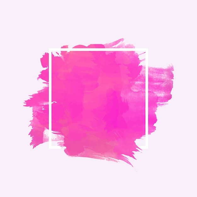 White geometric frame on watercolor stain Free Vector
