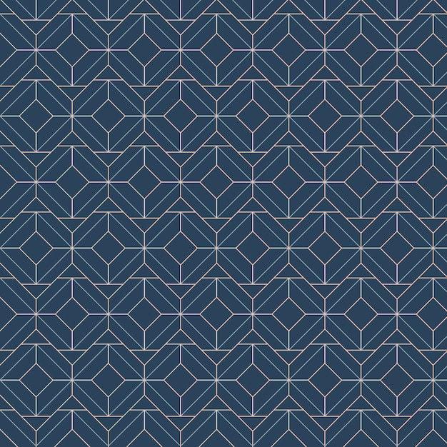 White geometric seamless patterns set on a blue background Free Vector