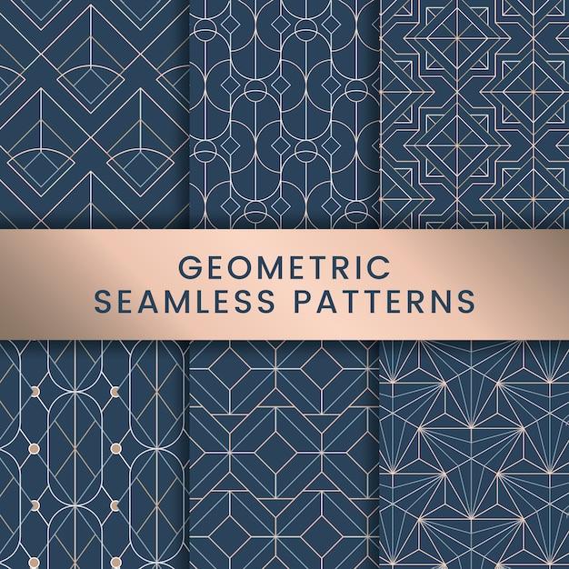 White geometric seamless patterns set on blue background Free Vector