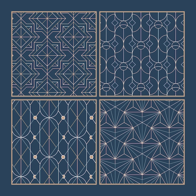 White geometric seamless patterns set on blue background Free Vector
