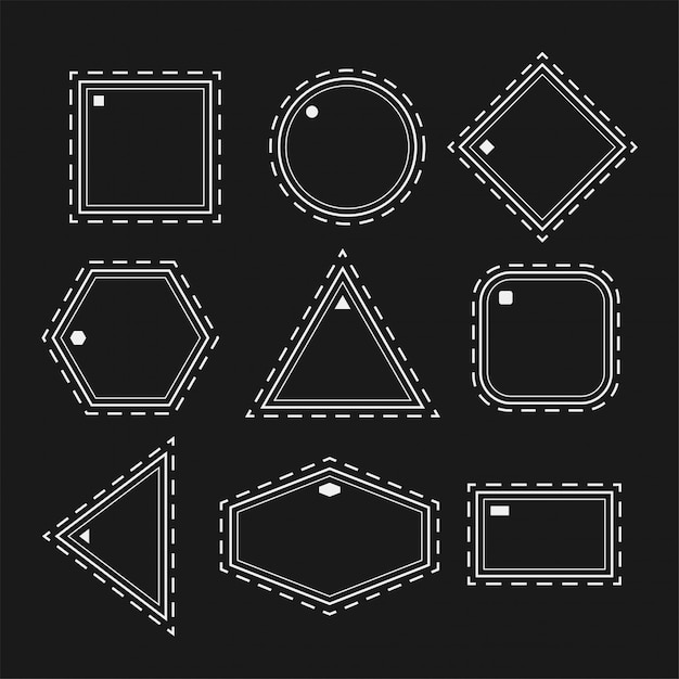 White geometric shapes in line style set Free Vector