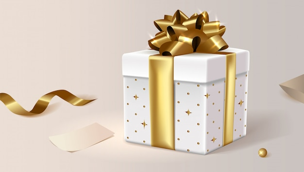 White gift box, closed. clip art illustration for site. Premium Vector
