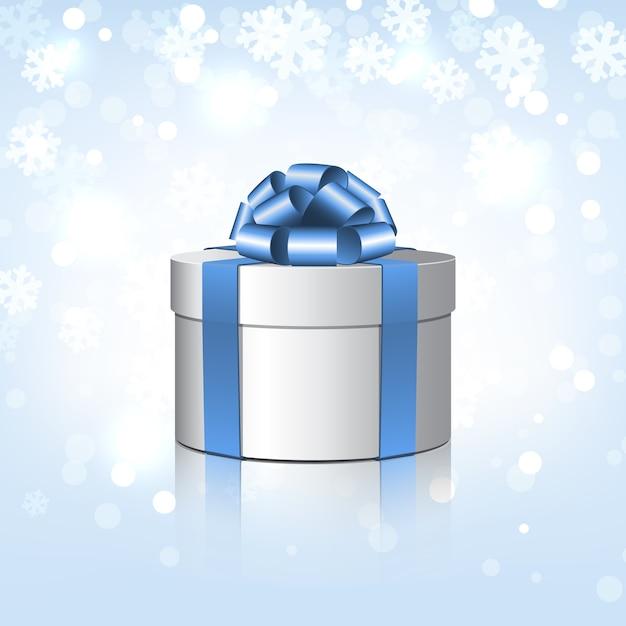 青い弓と白いギフトボックス。雪片の背景のイラスト Premiumベクター