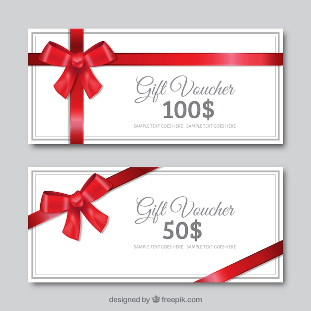 White gift discounts with a red bow Premium Vector