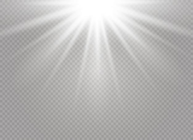 透明な背景に白い輝く光バースト爆発。 Premiumベクター
