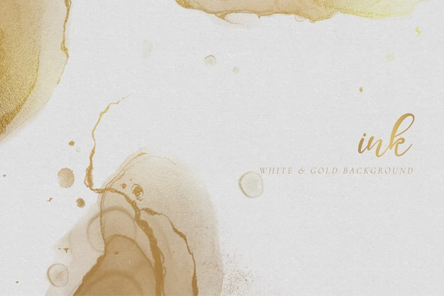 White & gold alcohol ink background Free Vector