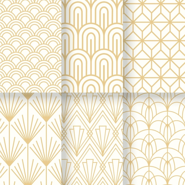 White and gold collection ofart deco seamless pattern Premium Vector