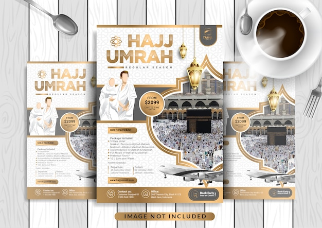 White gold luxury hajj & umrah flyer template in a4 size. Premium Vector