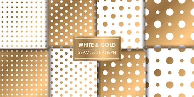White and gold luxury polkadot seamless pattern, decorative wallpaper. Premium Vector