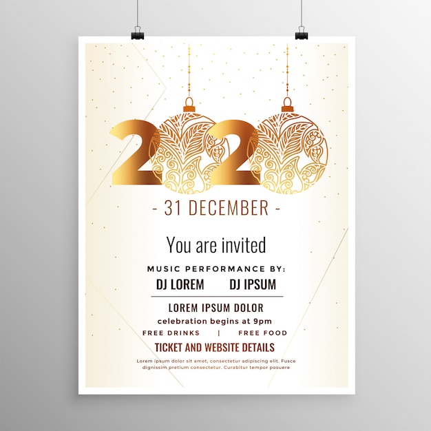 White and gold new year 2020 flyer template Free Vector