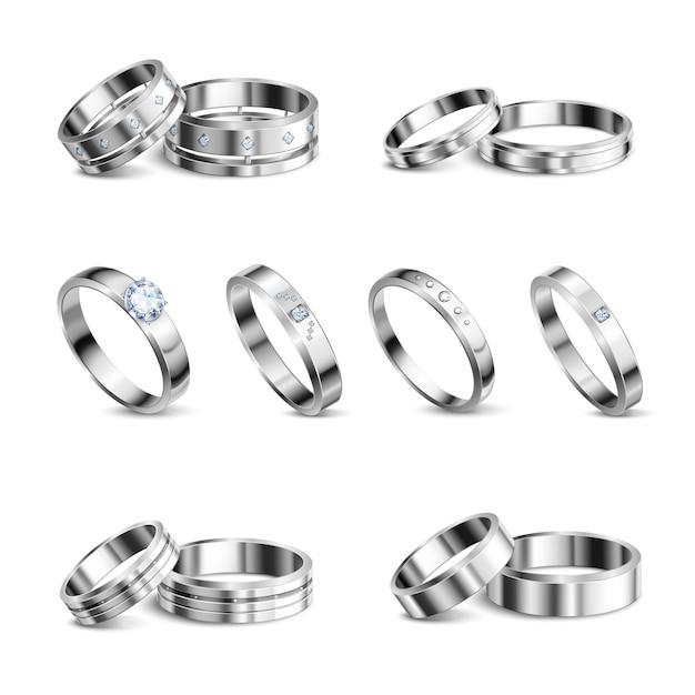 ホワイトゴールドプラチナ貴金属結婚指輪6現実的な分離セットジュエリーシャドウニュートラル背景イラスト 無料ベクター