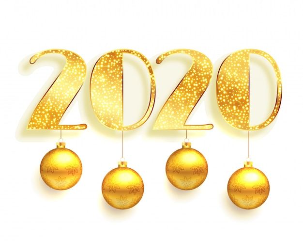 White and golden 2020 in sparkles style background Free Vector