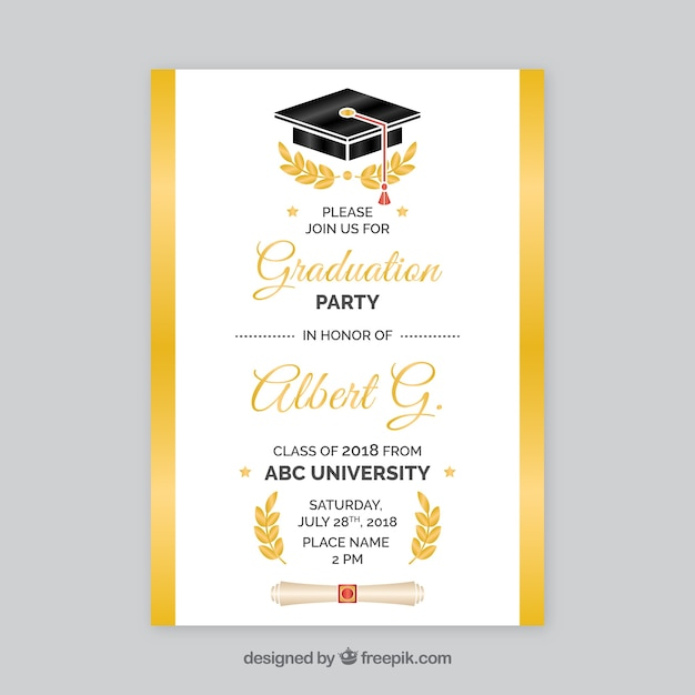 White and golden graduation party invitation Free Vector