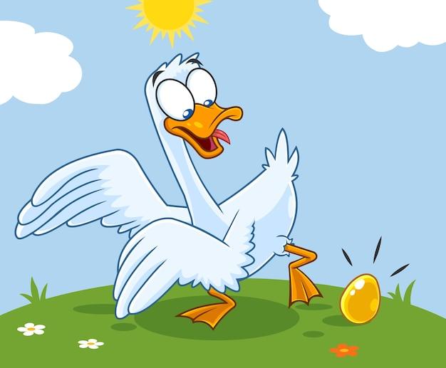 Белый гусь мультипликационный персонаж с золотым яйцом Premium векторы