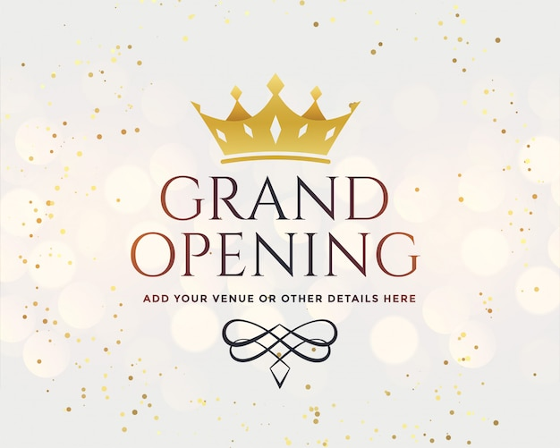 White grand opening with golden crown Free Vector