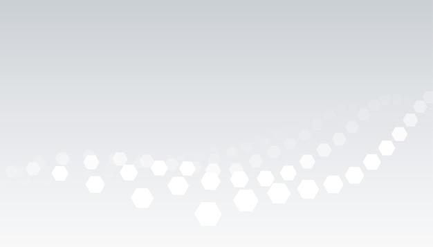 六角形の波のパターンデザインと白灰色の背景 無料ベクター