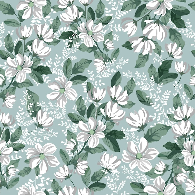 Белый серый цветок и зеленый лист бесшовные модели. Premium векторы
