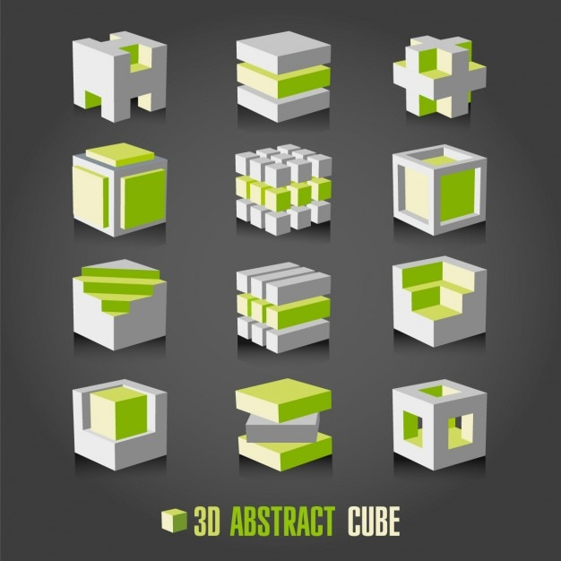 White and green cubes collection Free Vector