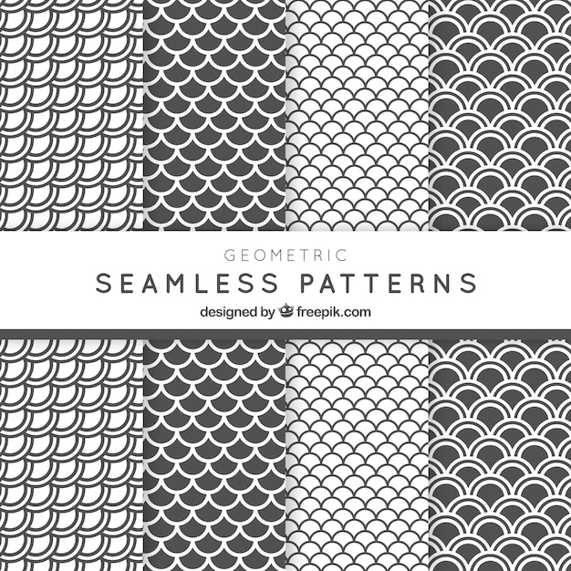White and grey archs patterns pack Free Vector