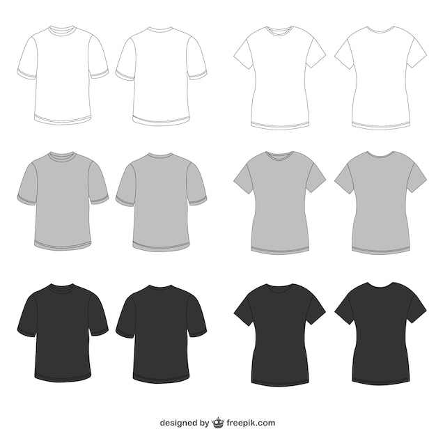 White, grey and black tees Premium Vector