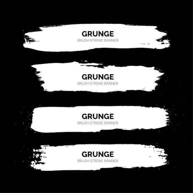 White grunge brush stroke banners template Free Vector