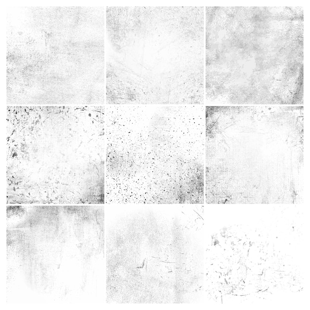White grunge distressed texture set Free Vector