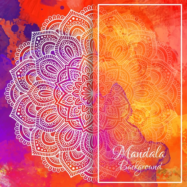 White hand draw mandala on watercolor background. Premium Vector