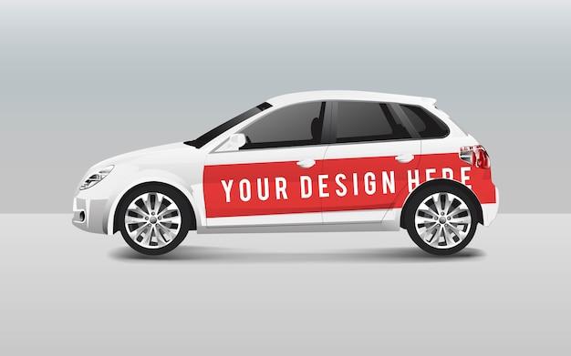 White hatchback car template vector for design Free Vector