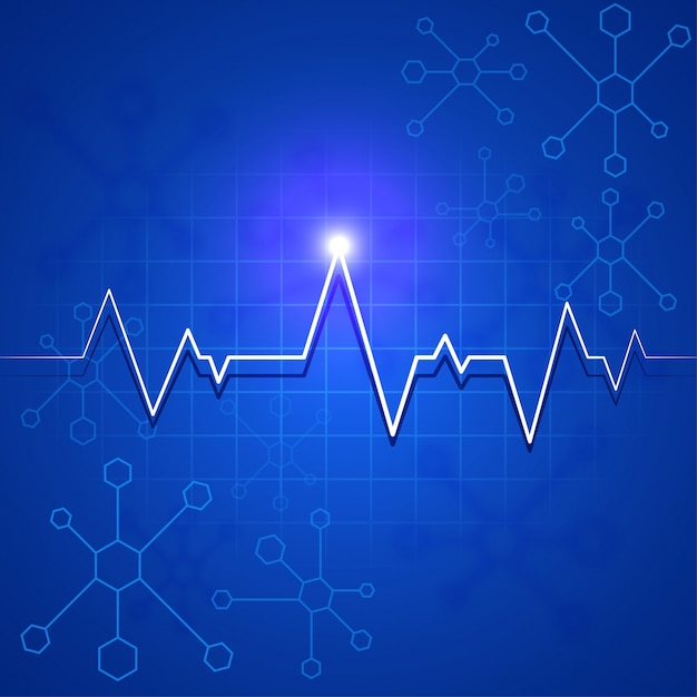 White heartbeat pulse or electrocardiogram on\ blue molecules background for Health and Medical concept.