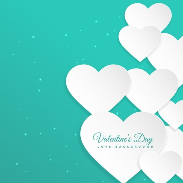 White Hearts In Turquoise Background Vector Free Download