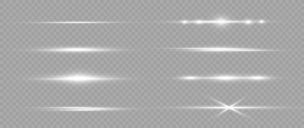 White horizontal lens flares pack. laser beams, horizontal light rays. light flares. glowing streaks on light background. luminous abstract sparkling lined background. Premium Vector