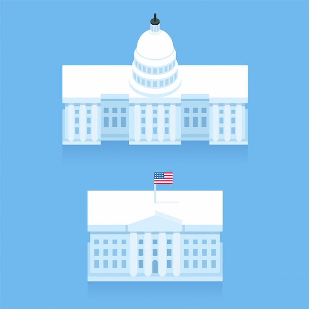 White house and capitol building in stylized flat cartoon style. washington dc landmarks. Premium Vector