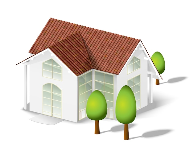 Casa bianca e pochi alberi isolati su bianco Vettore gratuito
