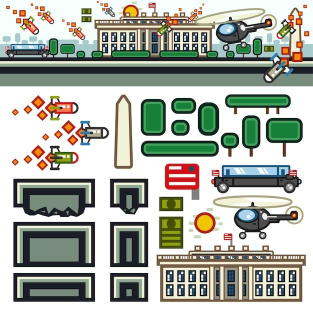 White house flat game level kit Premium Vector