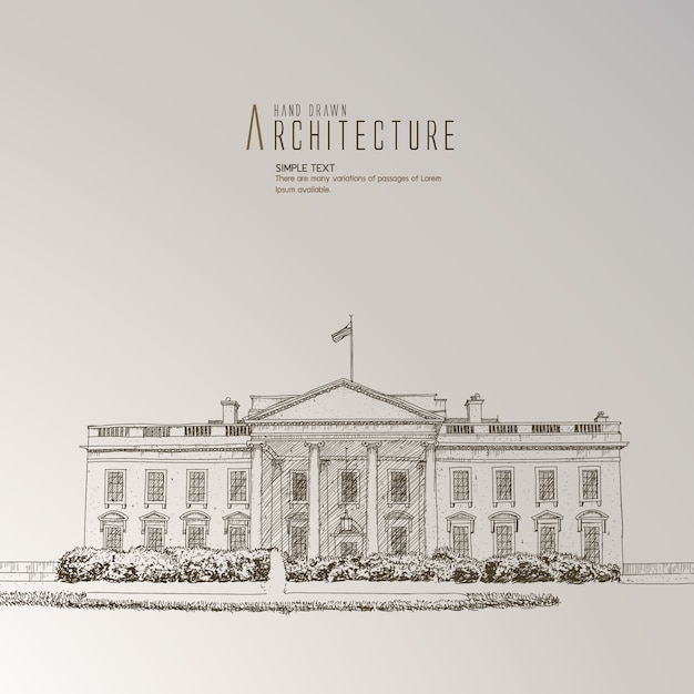 The white house hand drawn Free Vector