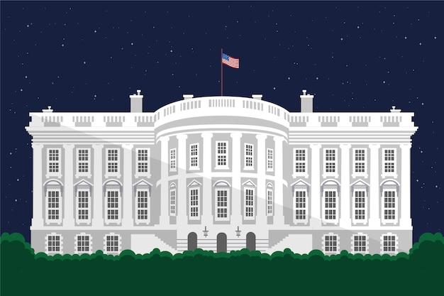 Illustrazione della casa bianca in design piatto Vettore gratuito