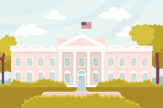 White house illustration in flat design Free Vector