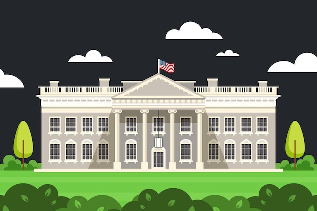 White house illustration in flat design Free Vector