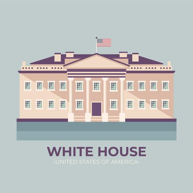평면 디자인에 백악관 그림 무료 벡터