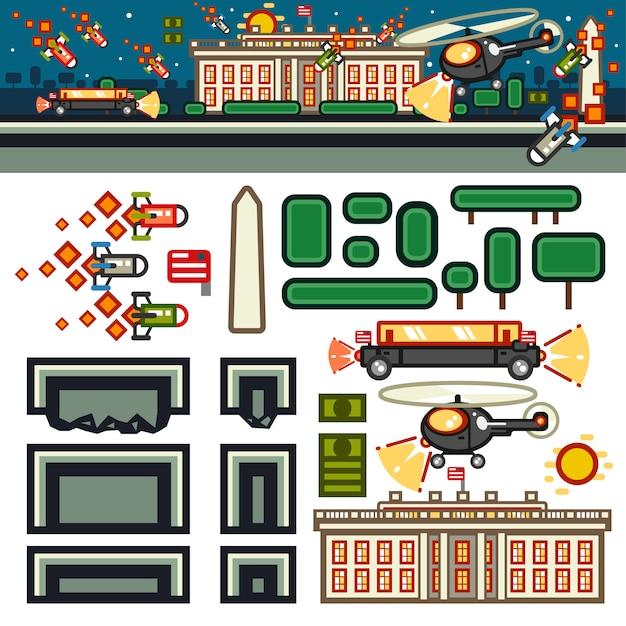 White house at night flat game level kit Premium Vector
