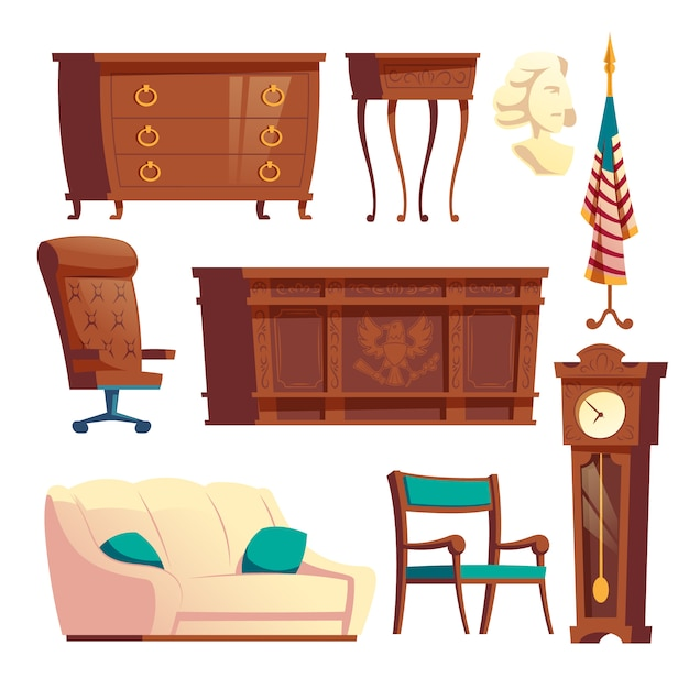 White house oval office wooden furniture cartoon vector set Free Vector