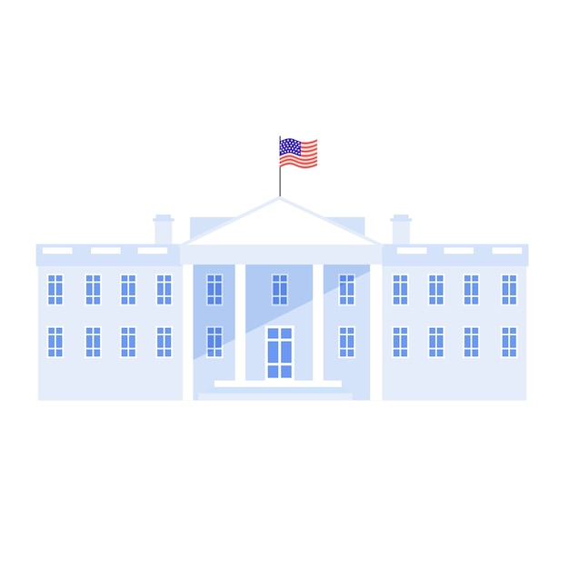 The white house in washington with national flag of us. american government housse, congress and resident residence. Premium Vector