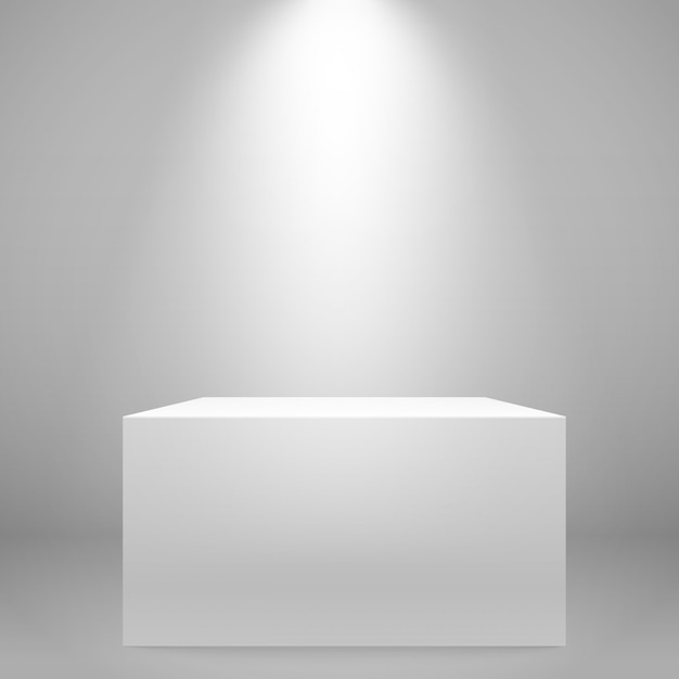 White illuminated wide stand on the wall. vector mockup Premium Vector