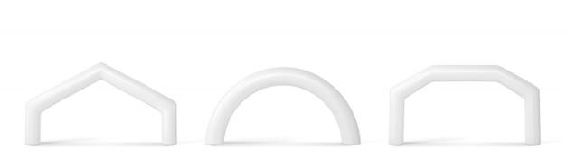 Белая надувная арка для спортивных мероприятий Бесплатные векторы