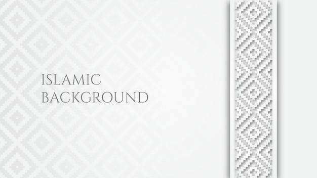 White islamic arabic geometric pattern background with ornamental border Premium Vector