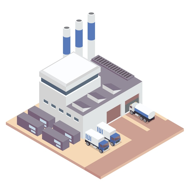 White isometric factory  Free Vector