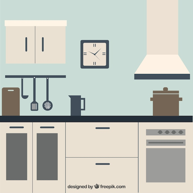 White kitchen Free Vector