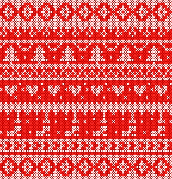 White knitted on red background design for christmas event. Premium Vector