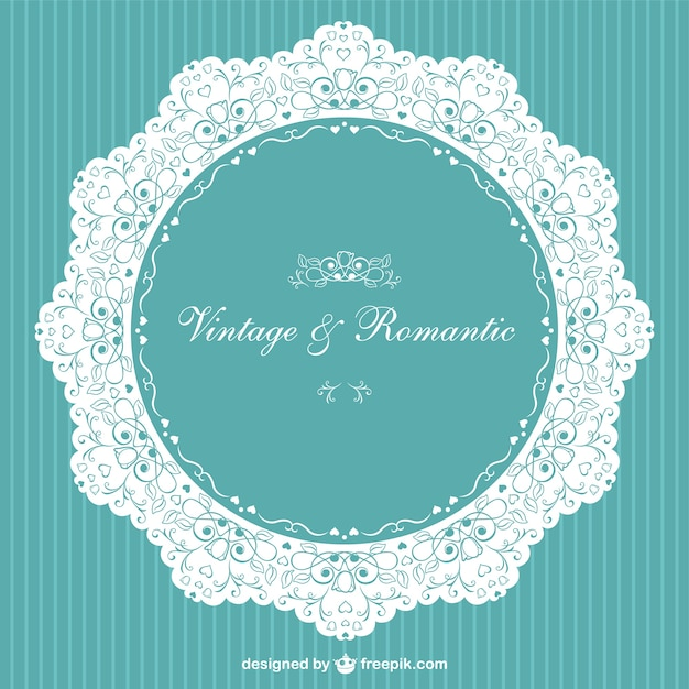 White lace and turquoise invitation Free Vector