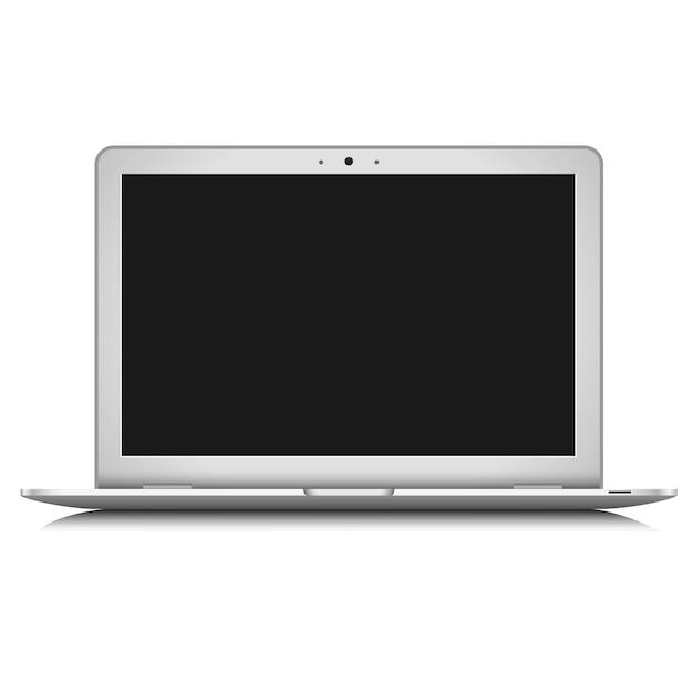 White laptop isolated on white Premium Vector